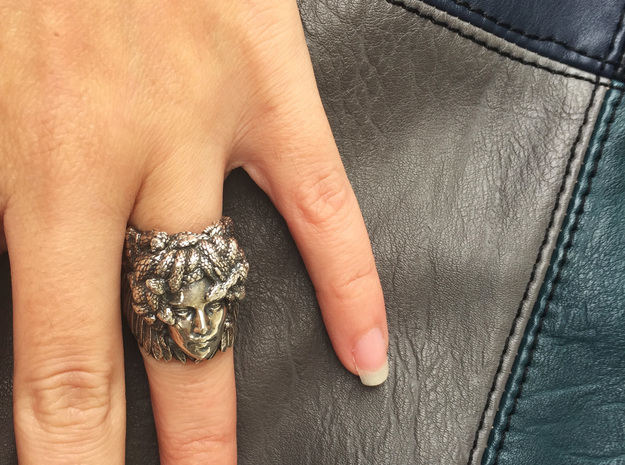 Silver, Bronze, Brass or Gold Plated Ring - Medusa in Antique Silver: 7 / 54