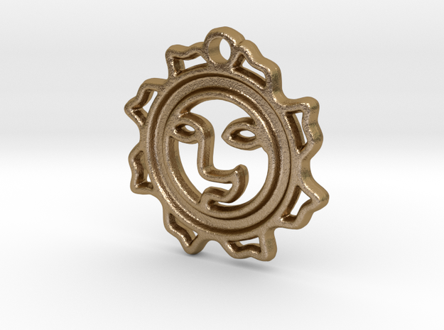 Happy Sun Pendant - 1 inch (2.54 cm) in Polished Gold Steel