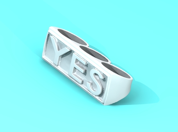 "Three finger rings ""YES"" 3d printed"