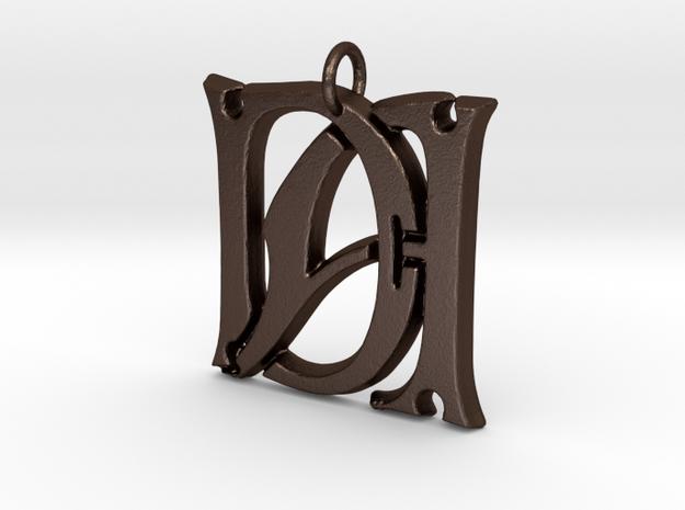 Monogram Initials DA Pendant  in Matte Bronze Steel
