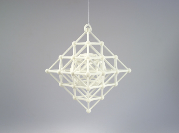 Diamond Spinning Ornament Mini 3d printed Printed in White, Strong and Flexible