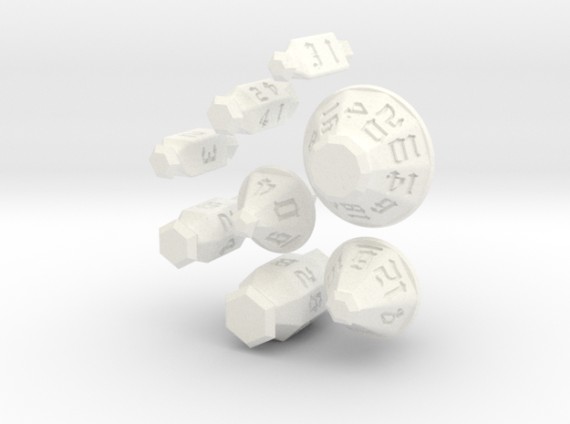 Jewel Dice Set in White Processed Versatile Plastic