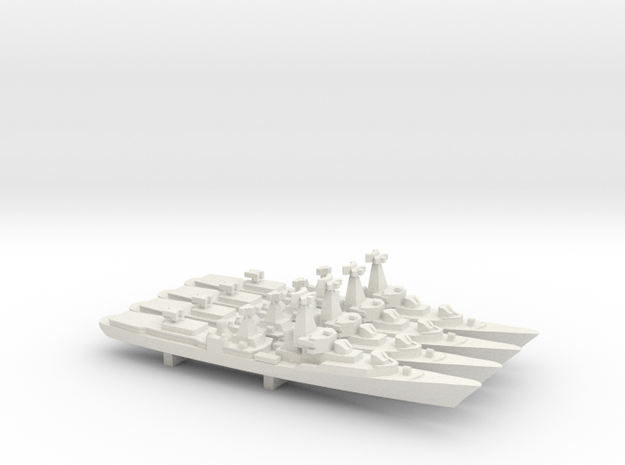Kanin-class Destroyer (Project 57-A) x 4, 1/1800 in White Natural Versatile Plastic