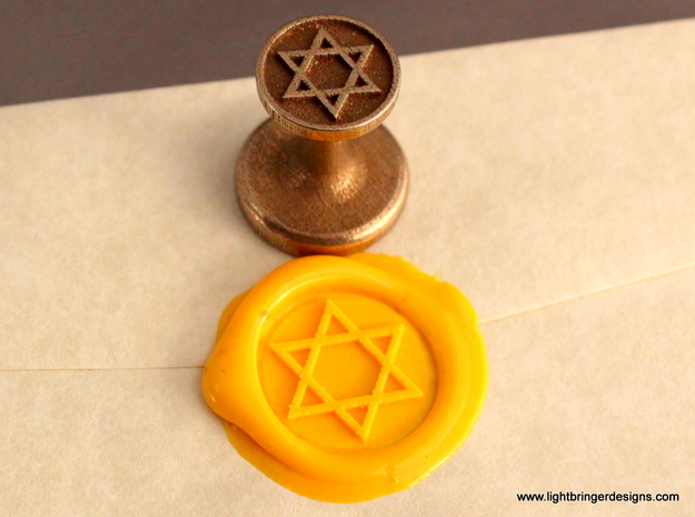 Star of David Wax Seal in Polished Bronzed Silver Steel