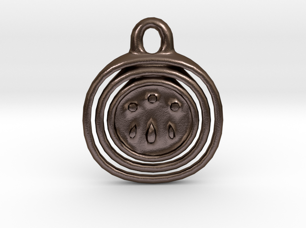Awen Symbol Pendant in Polished Bronze Steel