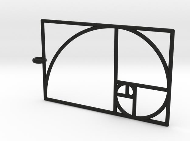 Golden Phi Spiral Rectangular Grid Pendant in Black Natural Versatile Plastic: Large