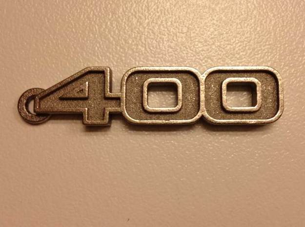 KEYCHAIN LOGO 400 3d printed Keychain logo 400 in Stainless Steel