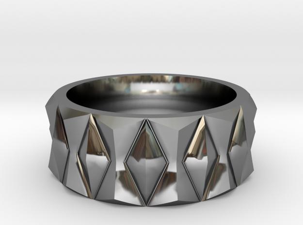 Diamond Ring V3 in Fine Detail Polished Silver