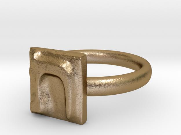 22 Tav Ring in Polished Gold Steel: 7 / 54