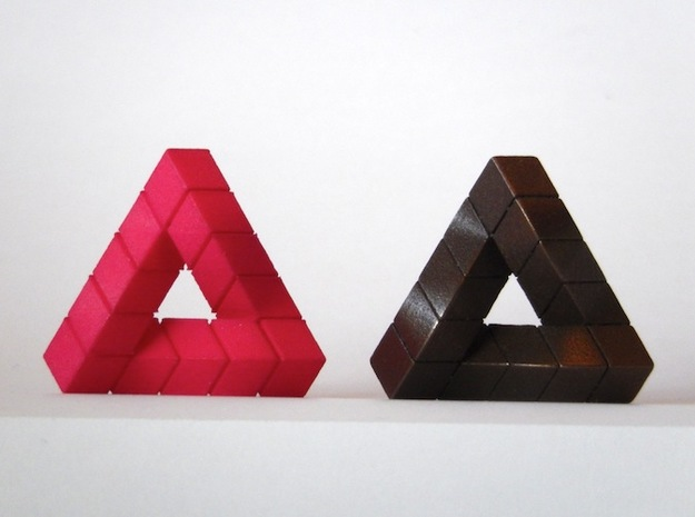 Impossible Triangle, Cubed & Compact 3d printed Hot Pink Strong & Flexible, Matte Bronze Steel
