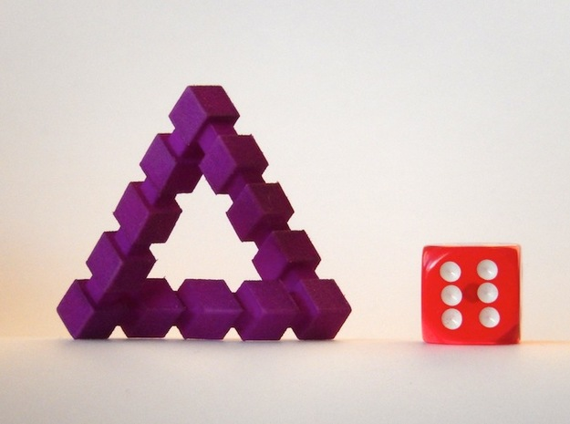 Impossible Triangle, Cubed 3d printed Die not included (shown for size reference)