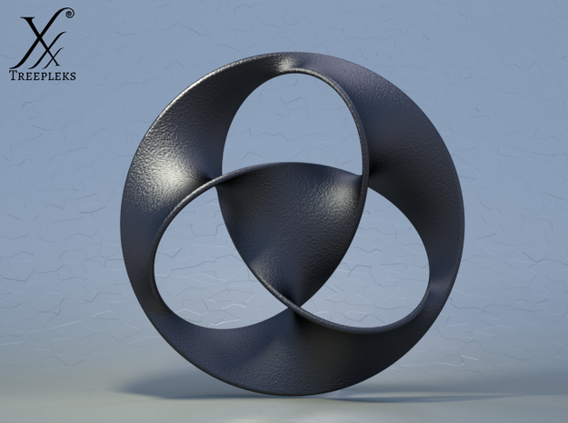 Trefoil pendant (4cm) 3d printed Black steel (cycle render).