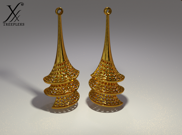 Dini's Surface Earrings in Polished Brass