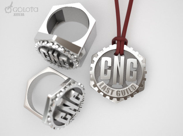 CNC Guild Pendant and pin badge in Natural Silver