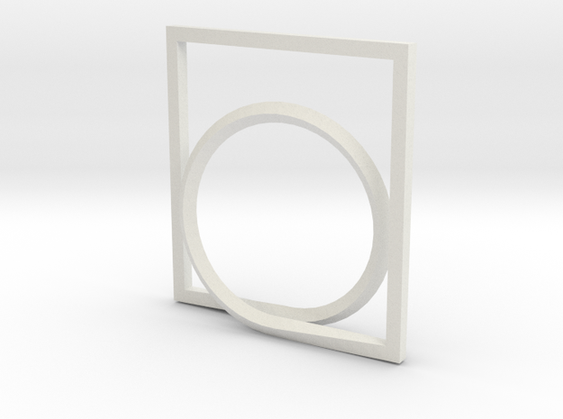 Rectangle and Circle ring in White Strong & Flexible: 4 / 46.5