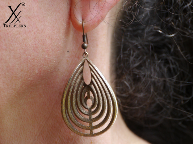 Aerial earring in Polished Bronzed Silver Steel