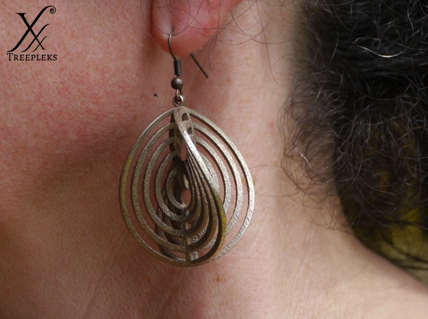 Aerial earring 3d printed Printed in steel.