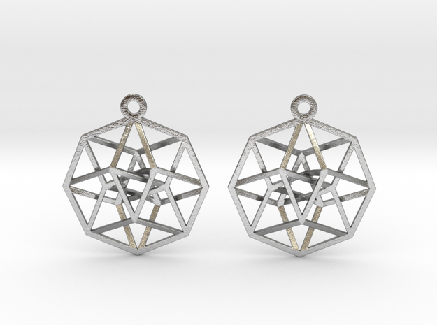 "Tesseract Earrings 1"" in Natural Silver"