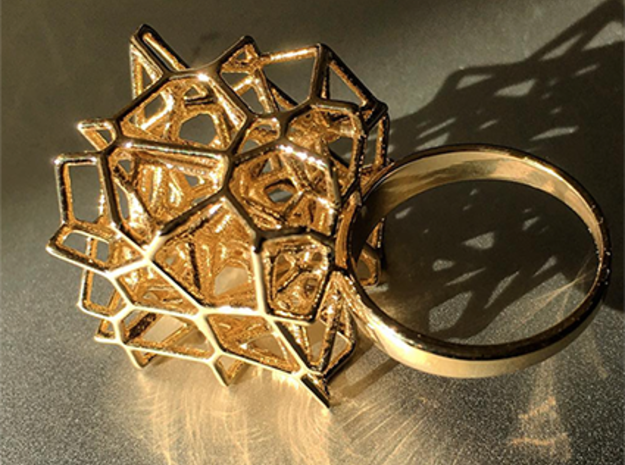 Voronoi Cube Ring (size 5) in Polished Brass