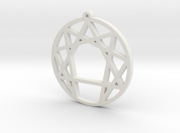 Enneagram Pendant Small (1 inch) in White Natural Versatile Plastic