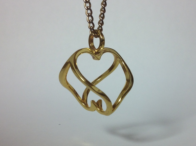 """""""Heart to Heart"""" Pendant 3d printed Heart to Heart Pendant in Gold Plated Brass"""
