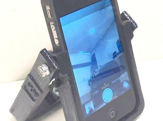 HandleStand for iPhone 3d printed HandleStand with iPhone (front)
