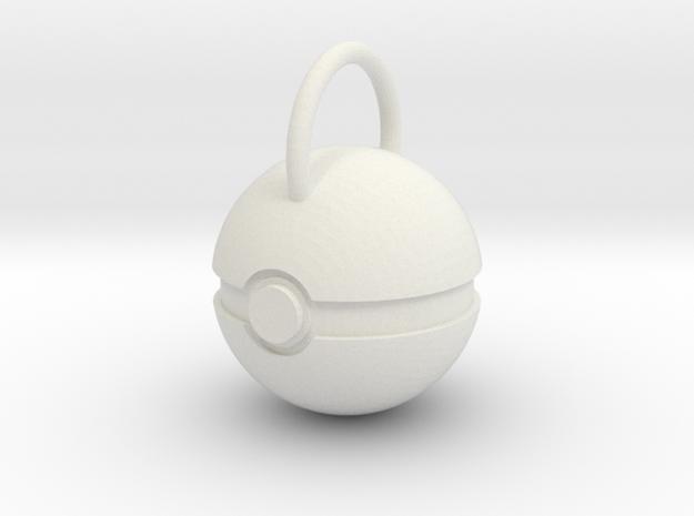 Poke Ball Pendant in White Natural Versatile Plastic