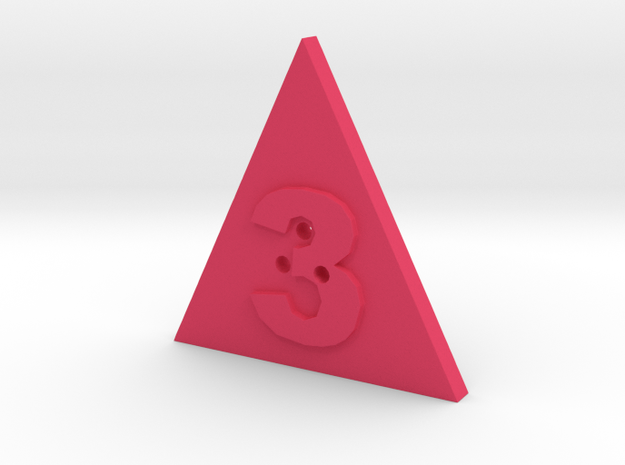 3 Hole Triangle Shape Button in Pink Strong & Flexible Polished