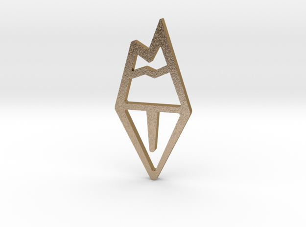 Moutain Bookmark in Polished Gold Steel