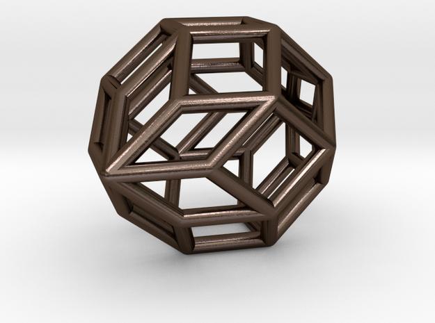 0488 Polar Zonohedron E [6] #001 in Polished Bronze Steel