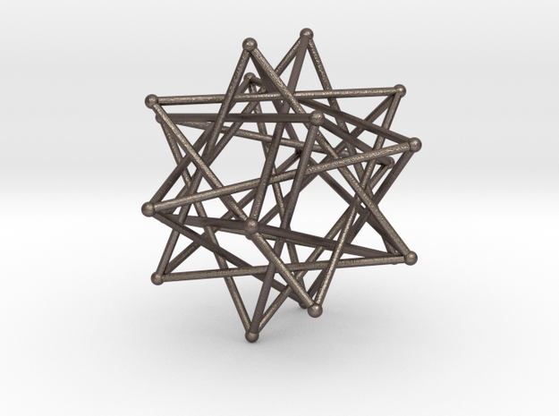 Five Tetrahedra in Polished Bronzed Silver Steel