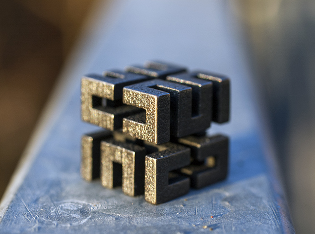 Hilbert cube ( pendant ) in Polished Bronze Steel