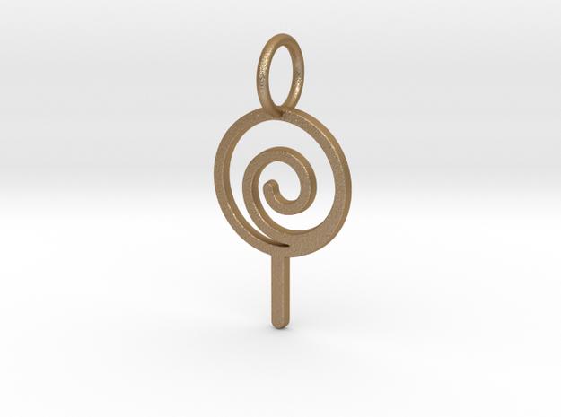 Lollipop Keychain in Matte Gold Steel