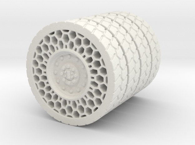 Airless Tire1 46mm in White Natural Versatile Plastic