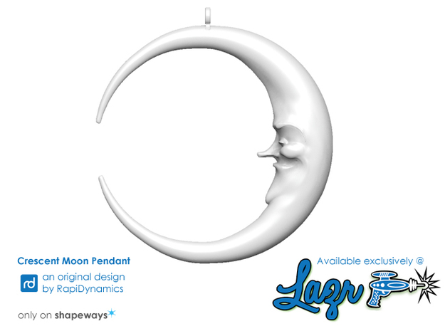Crescent Moon Pendant in White Strong & Flexible