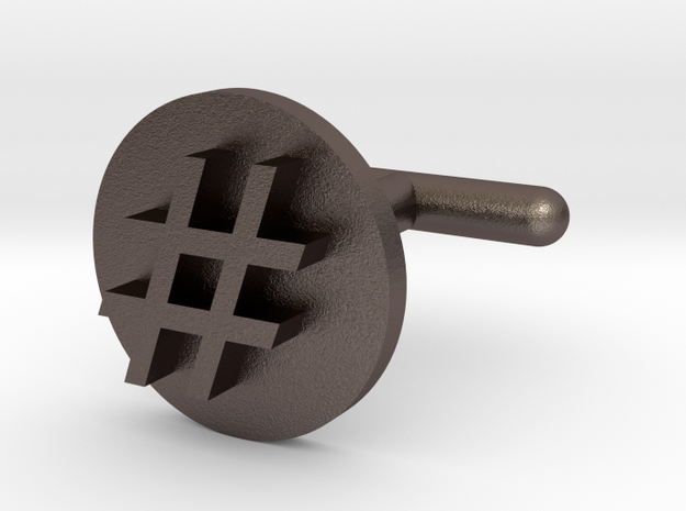 Hashtag Cufflink in Polished Bronzed Silver Steel