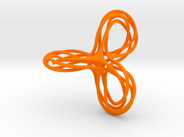 Tri-Moebius Knot in Orange Processed Versatile Plastic