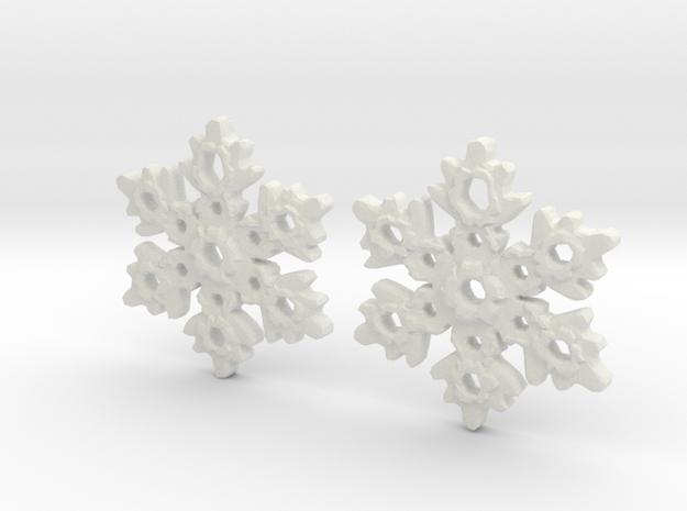 Snowflake Earring Dangles (pair) in White Natural Versatile Plastic
