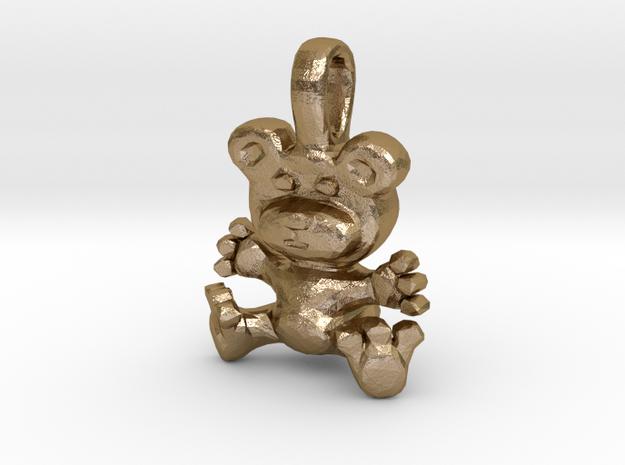 Bear Hug Pendant in Polished Gold Steel