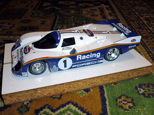 Slot car chassis for 962 CLH 1/28 in White Natural Versatile Plastic