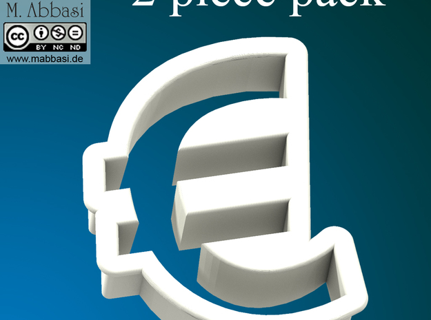 Cookie cutter (2 p.) - Euro Symbol in White Natural Versatile Plastic