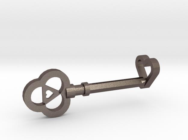 Heart Key (full size) in Polished Bronzed Silver Steel