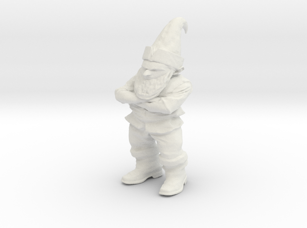 Petrified Grumpy Gnome in White Natural Versatile Plastic