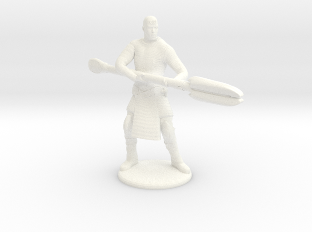 Jaffa  Attack Pose - 35mm  in White Strong & Flexible Polished