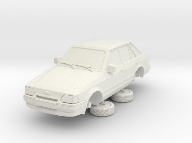 1-64 Ford Escort Mk4 4 Door Standard in White Natural Versatile Plastic
