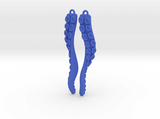 Tasty Wiggler Earrings with a Twist in Blue Processed Versatile Plastic
