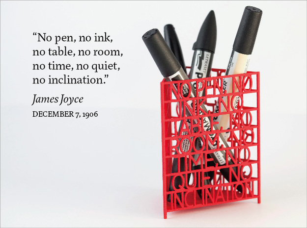 James Joyce Quote Desk Tidy in Red Processed Versatile Plastic
