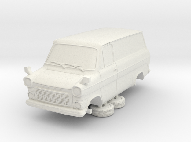1-76 Ford Transit Mk1 Short Base Delivery Van in White Natural Versatile Plastic