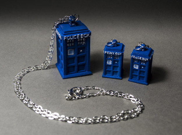 Tardis Pendant Earring Set in Blue Strong & Flexible Polished
