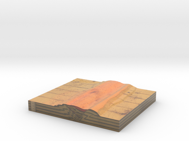 GS-B90 Side A (Scaled Tectonic analogue model) in Coated Full Color Sandstone